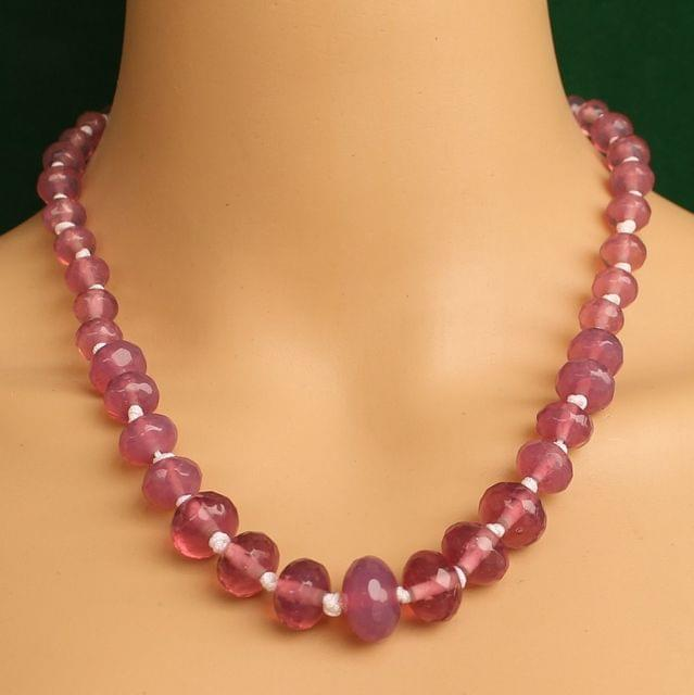 Graduated Pink Rondelle Faceted  Crystal Glass Necklace