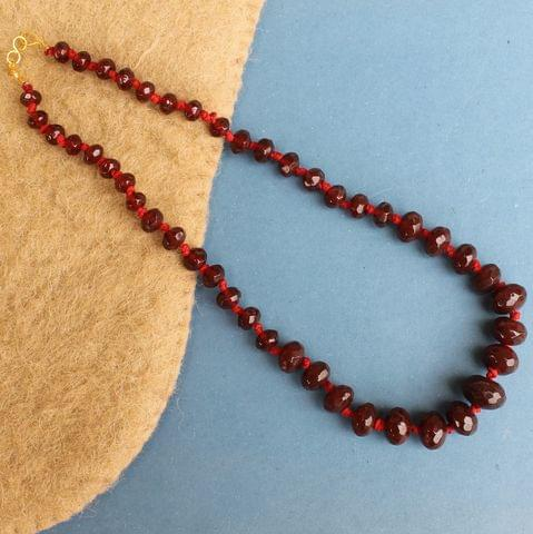 Red Rondelle Faceted  Crystal Glass Necklace