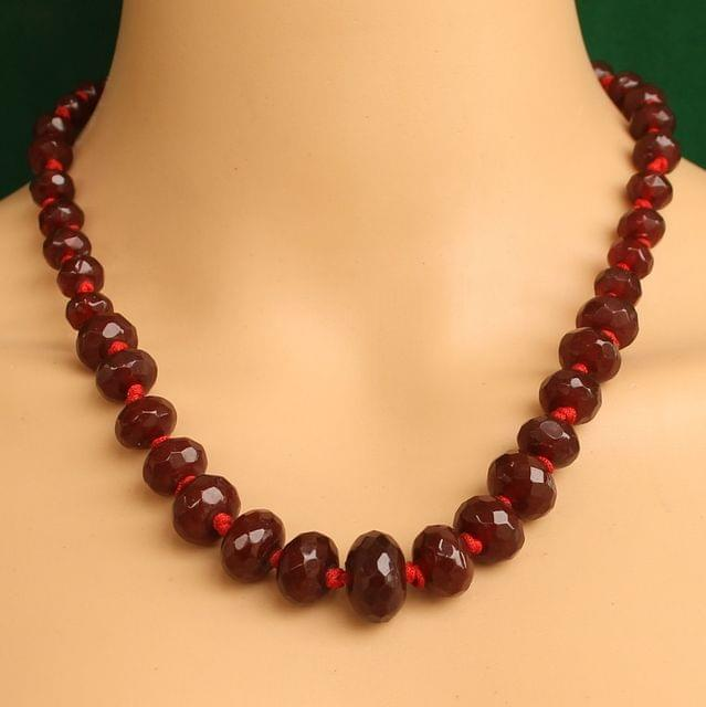 Graduated Red Rondelle Faceted  Crystal Glass Necklace