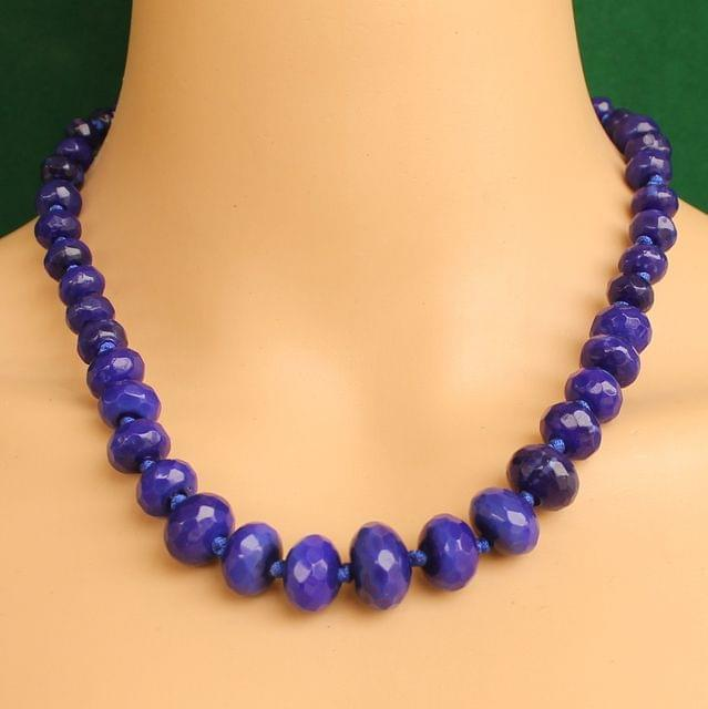 Graduated Purple Rondelle Faceted  Crystal Glass Necklace