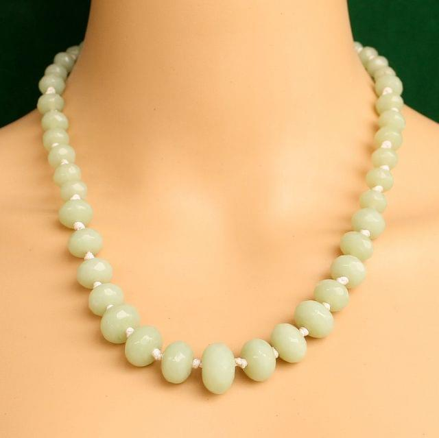 Graduated Olive Rondelle Faceted  Crystal Glass Necklace