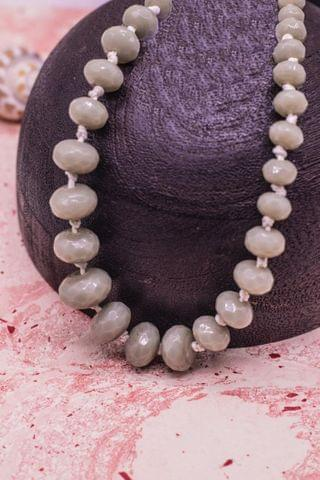 Graduated Grey Rondelle Faceted  Crystal Glass Necklace