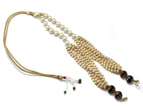 Pearl and Meenakari Beaded Adjustable Dori Black, Pck Of 1 Pc