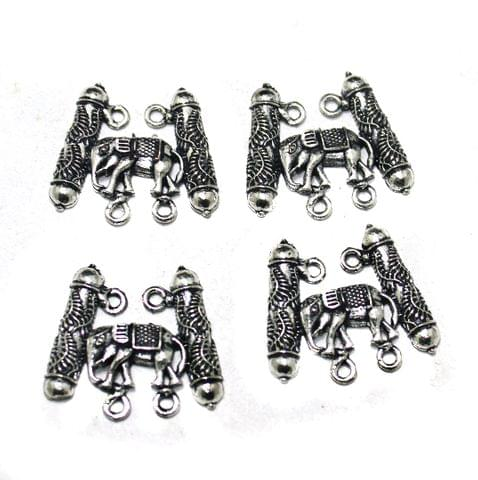 German Silver Elephant Pendants, Pack Of 10 Pcs, Size: 25 mm