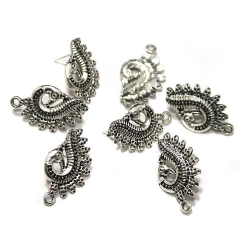 German Silver Peacock Earring Studs Components, Pack Of 20 Pcs, Size: 1 Inchs