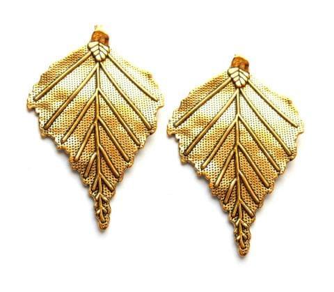 Designer Pendant,Antique golden,Leaf shape,2 pieces,40*65mm