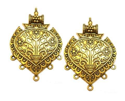 floral designer pendant,antique golden,hear shape,2 pieces,55mm