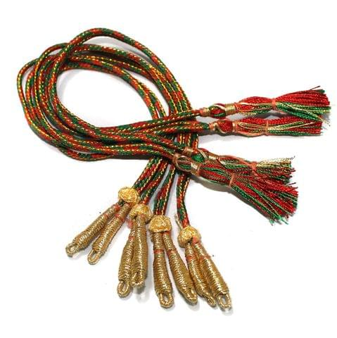 Zari Necklace backrope Dori Red and Green, Pack Of 12 Pcs