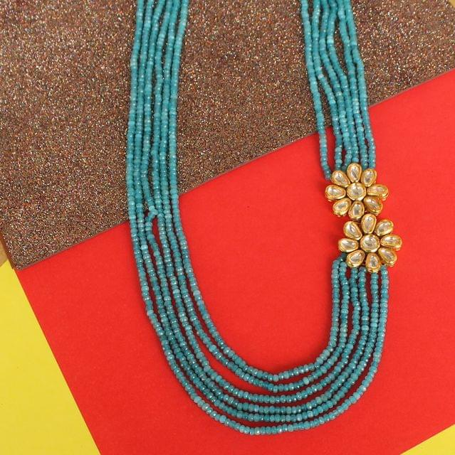 Multi layer Onyx Kundan Long Necklace Turquoise