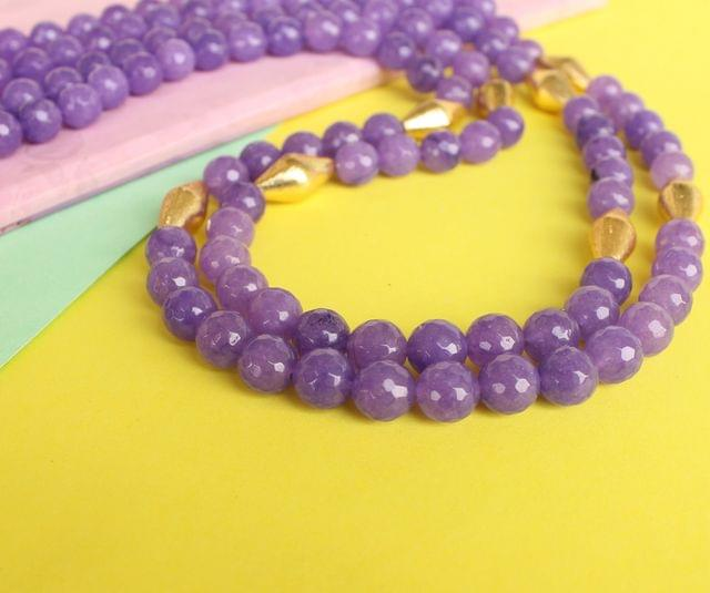 Dual Layer Faceted Stone Long Necklace Purple