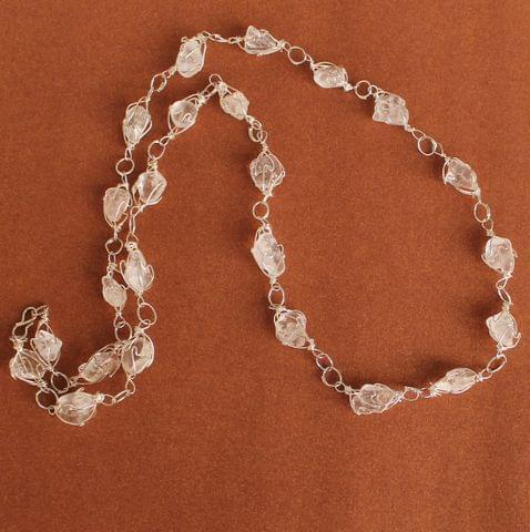 Wire Wrap Gem Stone Long Necklace White