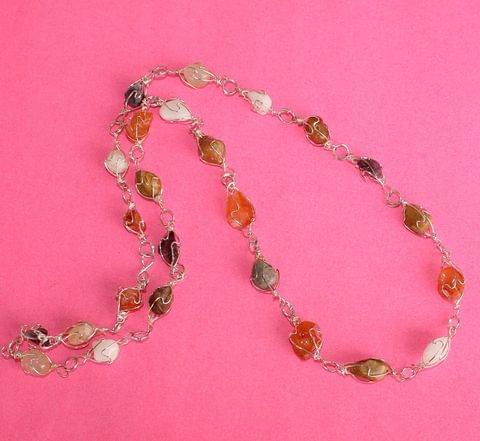 Wire Wrap Gem Stone Long Necklace MultiColor