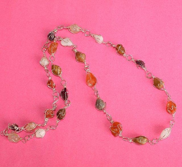 Wire Wrap Gem Stone Long Necklace MultiColor