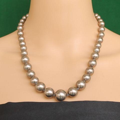 Graduated Shell Pearl Beads Necklace Coffee