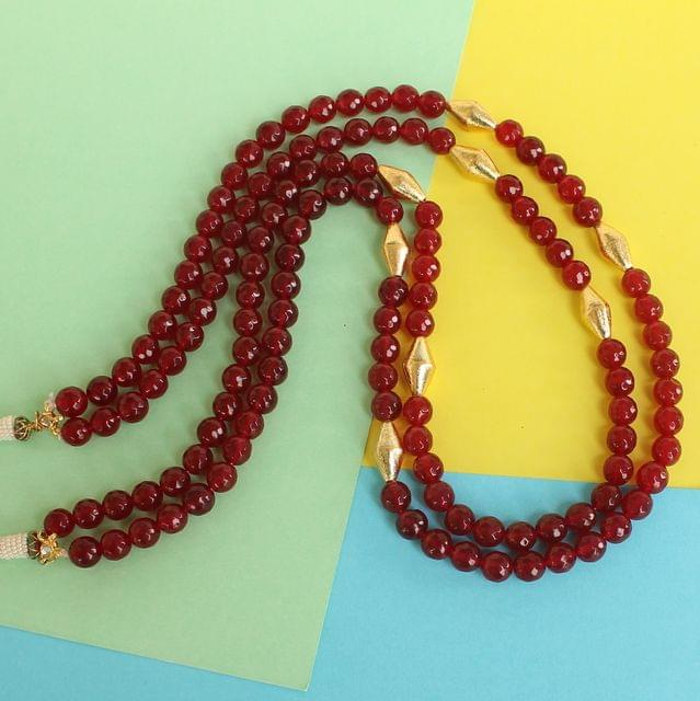 Dual Layer Faceted Stone Long Necklace Red
