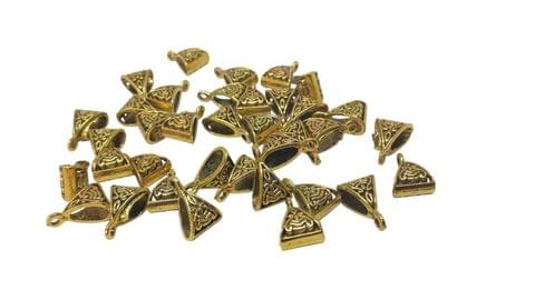Jewellery Making Metal Alloy Pendant Bails (40 Pieces) 15x10x7mm Triangle Antique Gold Color Dark Tone