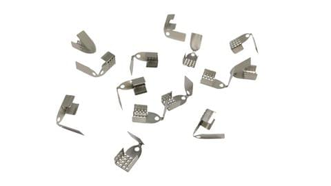 Jewellery Making Foldable Crimp Iron Cord Wire Closures (100 Pieces) 11x6x5mm Rectangle Silver Color (20 grams)