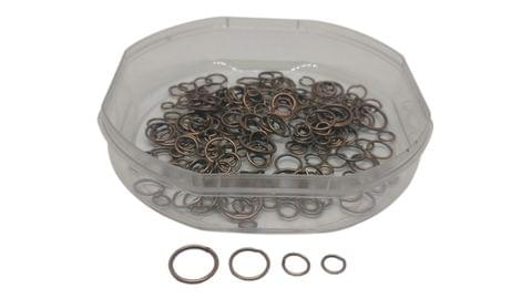 Metal Iron Jump Rings For Jewellery Making Mixed Size Round Antique Copper Color (Pack of 100 grams, 1180 pieces)