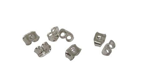 Jewellery Making Metal Iron Earring Back Stoppers (375 Pieces) 5x3mm Rectangle Silver Color (20 grams)
