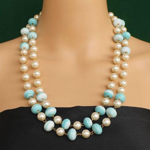 Pearl Dual Tone Faceted Sky Blue Necklace