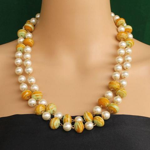 Pearl Dual Tone Faceted Yellow Necklace