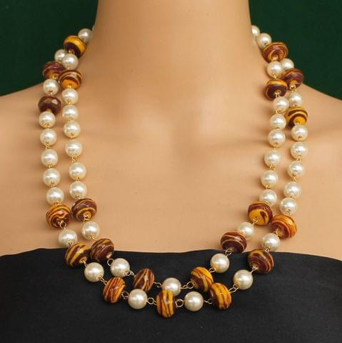 Pearl Dual Tone Faceted Brown Necklace
