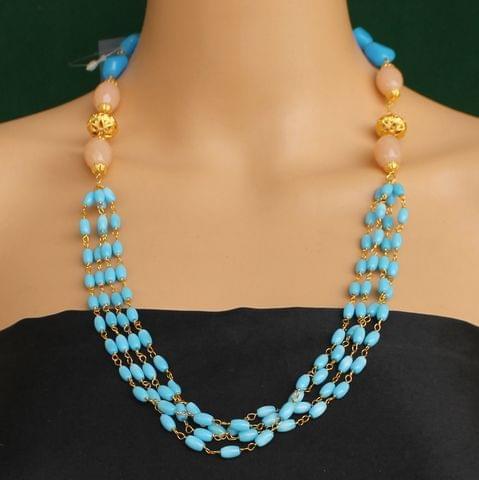 Multi Strands Beaded Necklace Sky Blue