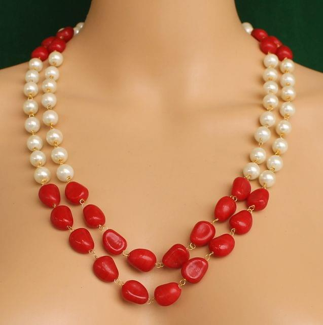 Dual Strands Pearl Neckalce Red