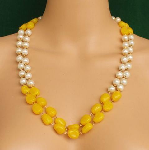 Dual Strands Pearl Neckalce Yellow