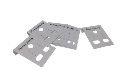 Small Plastic Earring Display Card Strips 1.5x1.2inch (3.8CM x 3CM) Rectangle White (Pack of 100 Pieces)