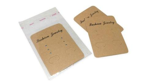 Paper Display Earring Cards 6.7x5cm with Covers cm Rectangle Brown (Pack of 100 Pieces)