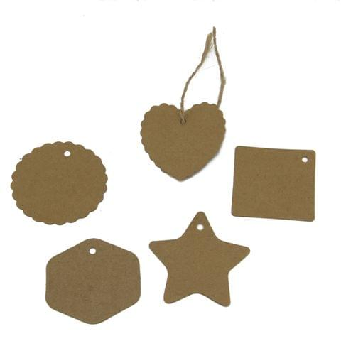 Paper Price Display Tags (50 Pieces, Mized Shapes) for Gifts Jewellery Bags Craft Multi-Purpose Price Mixed Size 5 to 7 cm Range with Hemp Jute Rope