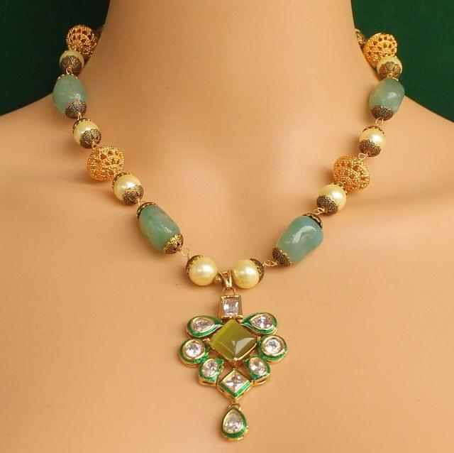 Stone & Kundan Necklace Multicolor
