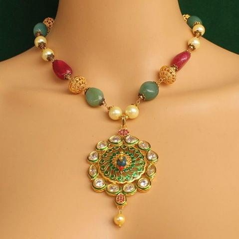 Stone & Kundan Necklace Multicolor