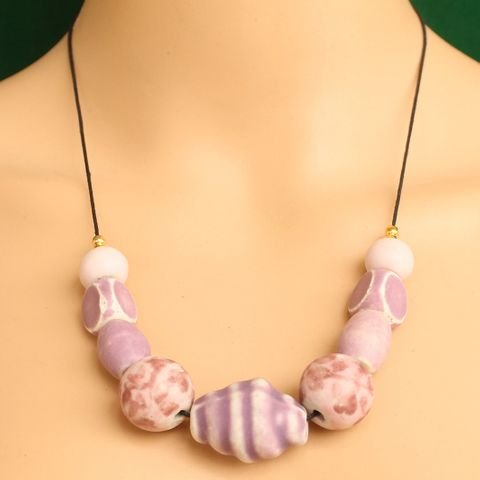 Ceramic Beaded Necklace Pink