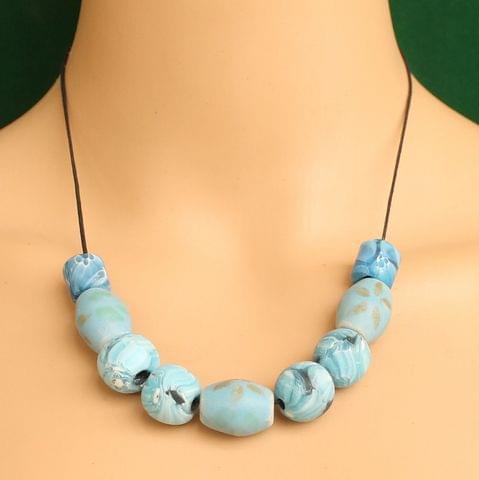 Ceramic Beaded Necklace Sky Blue