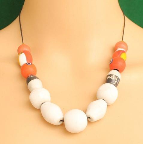 Ceramic Beaded Necklace White
