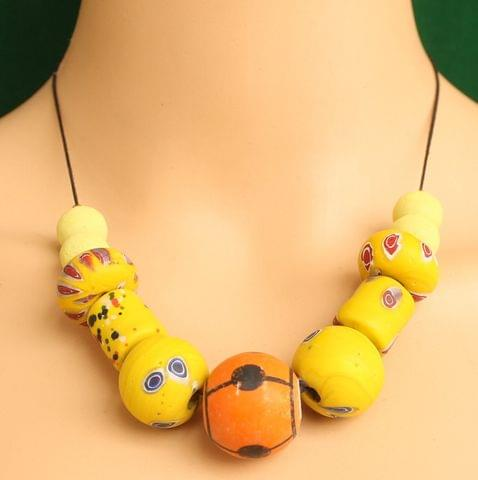 Ceramic Beaded Necklace Yellow