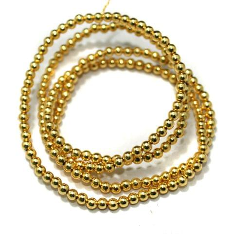 Gold Plated Copper Round Spacer Beads, Size 3 mm, Pack of 1 string, Approx 200 Pcs