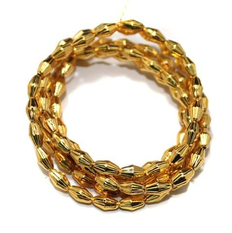 Brass Mani Gold plated Beads, Size 8x5 mm, Pack of 1 string, Approx 100 Pcs