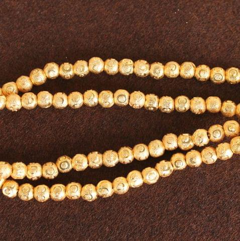 Brass Mani Gold plated Beads, Size 5 mm, Pack of 1 string, Approx 100 Pcs