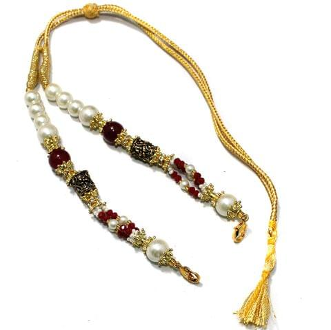 Designer German Silver Beaded Necklace Dori Red, Pack Of 1 Pc