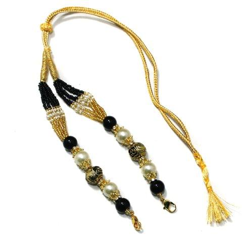 Designer German Silver Beaded Necklace Dori Black, Pack Of 1 Pc