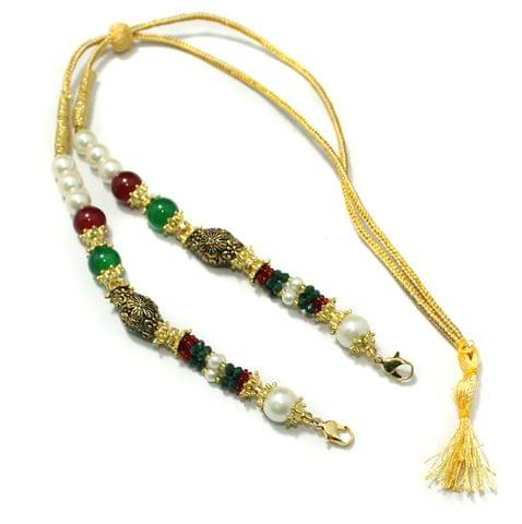 Designer German Silver Beaded Necklace Dori Multi, Pack Of 1 Pc
