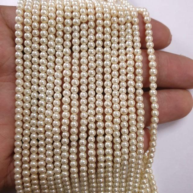 OffWhite Glass pearl, 135+ beads in each string, 15-16 inch, 5 lines, 3mm