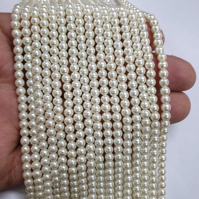 OffWhite Glass pearl, 105+ beads in each string, 15-16 inch, 5 lines, 4mm