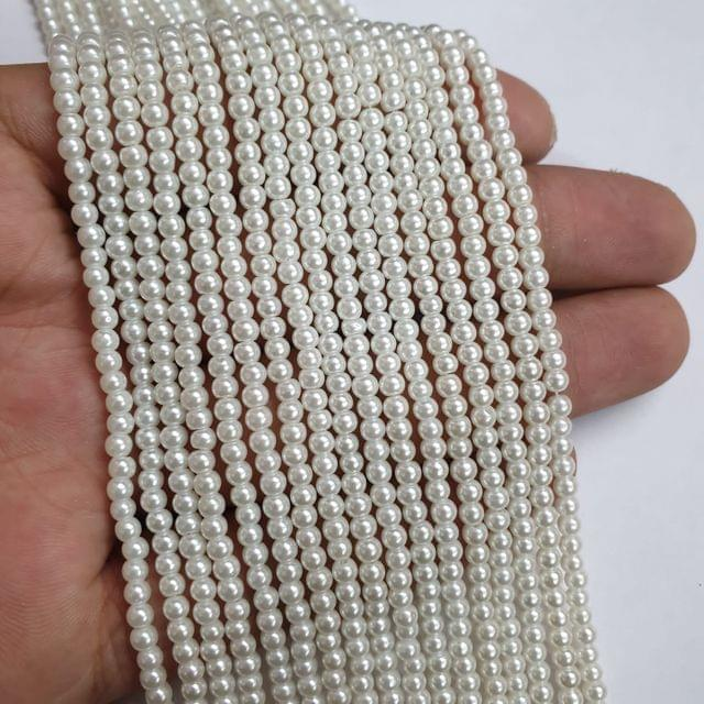 White Glass pearl, 135+ beads in each string, 15-16 inch, 5 lines, 3mm