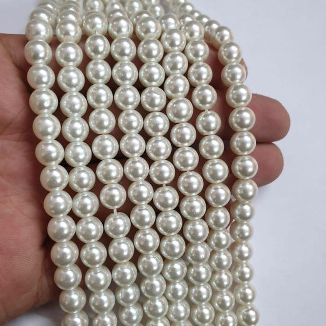 OffWhite Glass pearl, 50+ beads in each string, 15-16 inch, 5 lines, 8mm