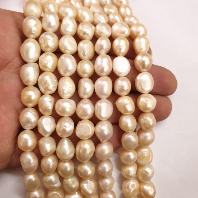 AAA freshwater baroque pearl irregular strand, 32+ beads in each strand, 14-15 inch, 1 line, 10-12mm