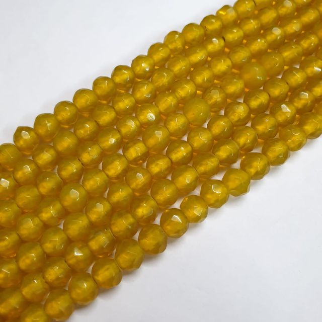 Jade agate faceted golden strand, 43+ beads, 14-15 inch, 2 lines, 8mm